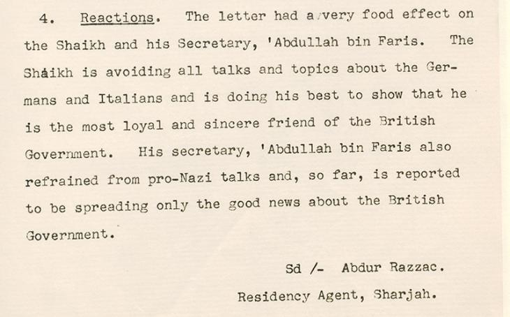 Razuqi reports that the Shaikh and his secretary now refrain from Pro-Nazi talk. IOR/R/15/1/281, f. 182