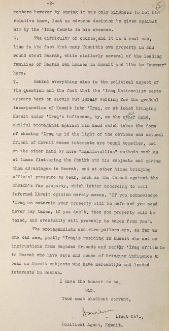 Letter from Lieutenant-Colonel Harold Richard Patrick Dickson, to Lieutenant-Colonel Hugh Vincent Biscoe, dated 25 April 1930 on the right of Iraqi courts to serve legal documents in Kuwait. IOR/R/15/1/309, f. 2