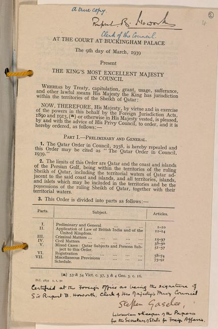 Certified copy of The Qatar Order in Council, 1939. IOR/R/15/1/312, f. 2