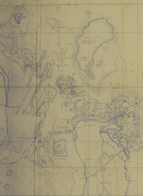 Detail from map of Bahrain and vicinity prepared by the Bahrain Petroleum Company showing the proposed boundary line to determine territorial waters of Saudi Arabia and Bahrain. IOR/R/15/1/335, f 157B, f. 157br