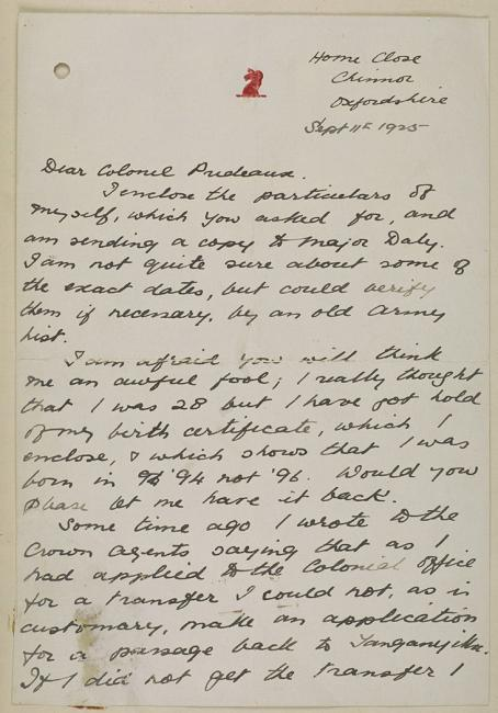 First page of a letter sent from Belgrave to Prideaux, 11 September 1925. IOR/R/15/1/362, f. 1E
