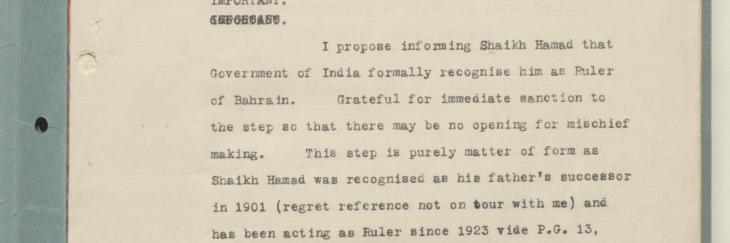 برقية من الحكومة البريطانية في الهند تؤكد على اعترافها رسميًا بحَمَد حاكماً للبحرين. IOR/R/15/1/368، ص. ٣و