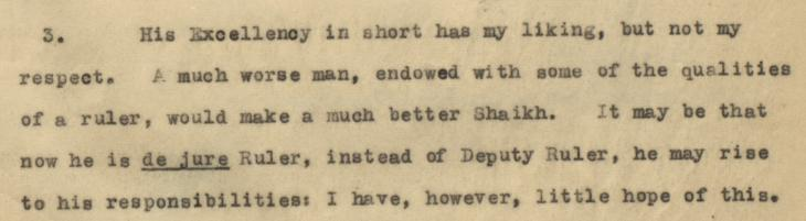An extract from a letter from the British Political Resident in the Persian Gulf, Trenchard Craven Fowle to the British Government in India criticising Hamad's apparent disinterest in ruling. IOR/R/15/1/368, f. 6r