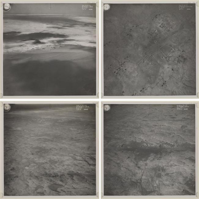 أربعة صور جوية لمدينة الزُبارة في شبه جزيرة قطر، إلتقطها سلاح الجو الملكي. IOR/R/15/1/370، ص. ١٦٠و -١٦٣ظ
