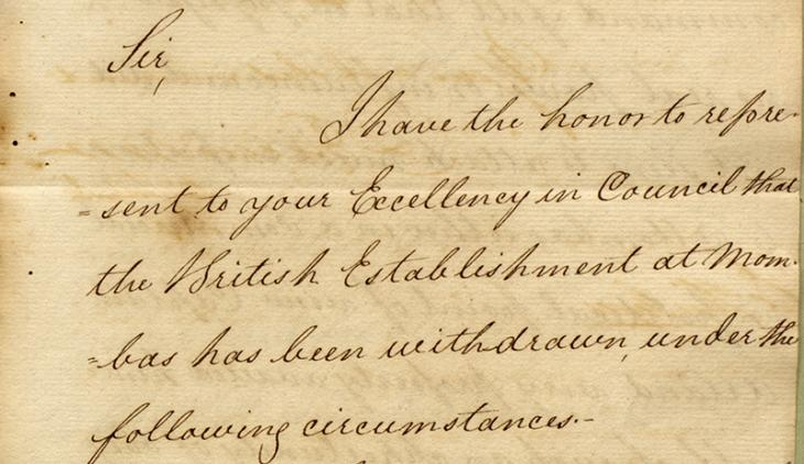 Extract of a letter from Commodore Hood Hanway Christian, to the Right Honourable Mountstuart Elphinstone, Governor in Council in Bombay, dated 5 September 1826. IOR/R/15/1/39, ff. 21–22
