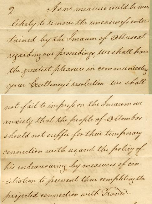 Extract of a letter from David Greenhill, Secretary to Government in Bombay, to Commodore Hood Hanway Christian, dated 12 October 1826. IOR/R/15/1/39, ff 23-24