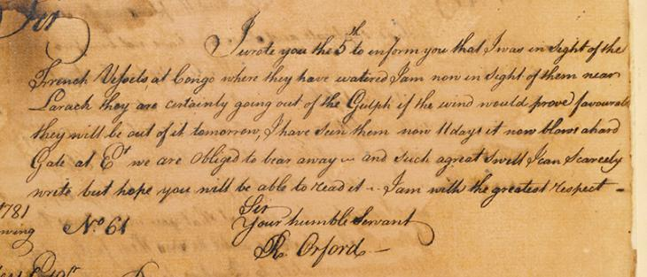 Extract of a letter from Roger Orford to William Digges Latouche, 5 September 1781. IOR/R/15/1/4, f 12v 1