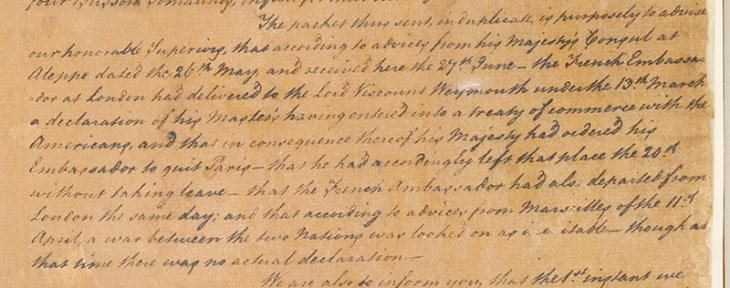 Extract of a letter from William Digges Latouche and George Abraham, Officials at Basra, 3 July 1778. IOR/R/15/1/4, f 14 2