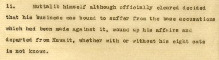 Extract from a response to the 'Cat's Meat Crisis' from the Political Resident, dated 5 May 1947. IOR/R/15/1/506, ff. 212-214