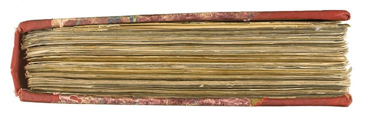 Side view of a file from the Bushire Records, which contains over 300 papers relating to relations between Nejd and Iraq, and covers the period the five-month period March to July 1928. IOR/R/15/1/582