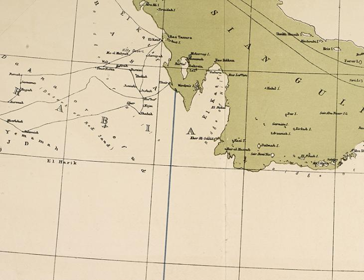 Map indicating the 'blue line', formerly established under the Anglo-Turkish Convention of 1913, and which Britain later used to try to restrain Ibn Saud's territorial ambitions. IOR/R/15/1/614, f. 20