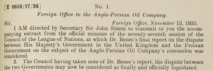 مقتطف من رسالة تنقل التقرير النهائي عن النزاع  بين شركة النفط الأنجلو-فارسية وإيران بتاريخ ١٣ نوفمبر ١٩٣٣. IOR/R/15/1/636، ص. ١٤٣و