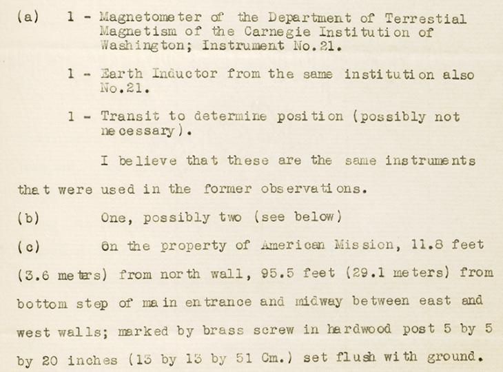 Details of the equipment to be used to take the measurements and the exact site in Bahrain where they were to be taken. IOR/R/15/1/646, ff. 202–203