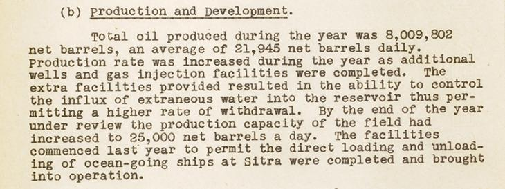 Extract from the Administration Report of the Persian Gulf for the Year 1946 (Bahrain Agency Report) on oil production. IOR/R/15/1/720, f 163
