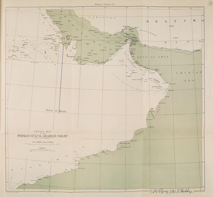 خريطة مبدئية للخليج والساحل العربي، ١٩١٣. IOR/R/15/1/741، ص. ٨
