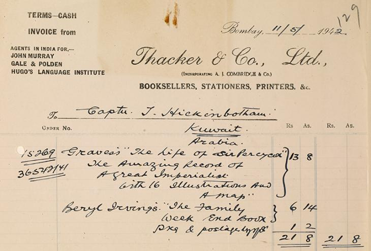 فاتورة من ثاكر آند كومباني ليميتد، بتاريخ ١١ مايو ١٩٤٢. IOR/R/15/2/1030، ص. ١٢٩ و