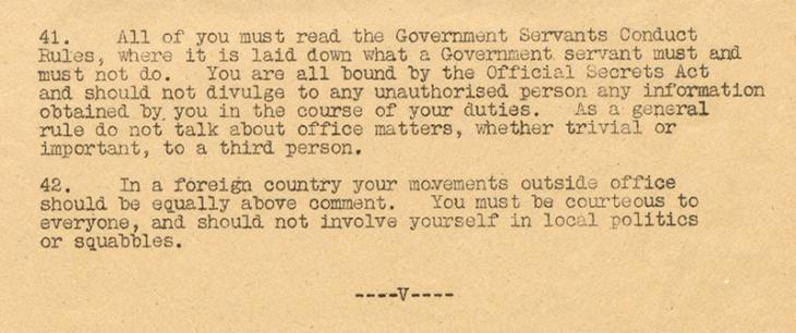 Extract of the last page of the note, in which staff are advised to 'be courteous to everyone'. IOR/R/15/2/1046, f. 16