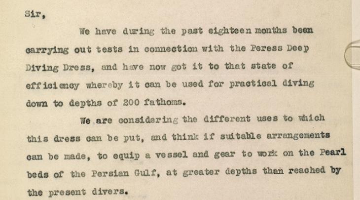 مستخلص من خطاب من شركة تريتونيا ومقرها في جلاسجو، بتاريخ ١٥ مايو ١٩٣١، يتساءل بشأن إمكانية استخدام أجهزة الغوص في أعماق البحار لاستخراج اللؤلؤ في الخليج. IOR/R/15/2/122، ص. ٦٥