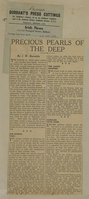 'Precious Pearls of the Deep': an article on pearl diving from the Irish News, dated 18 April 1935. IOR/R/15/2/1349, f 15