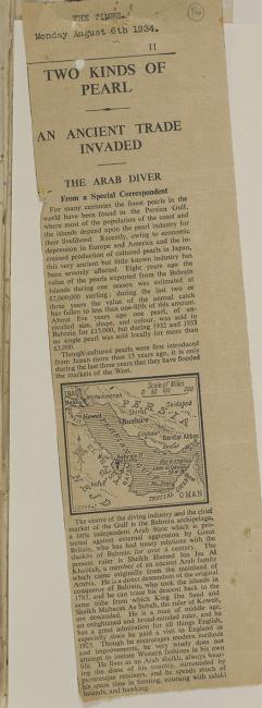 Press cutting from The Times, 6 August 1934. IOR/R/15/2/1349, f. 16
