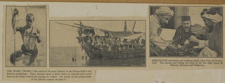 Press cutting from the file 'Pearl Diving and Pearl Trade'. IOR/R/15/2/1349, f. 18