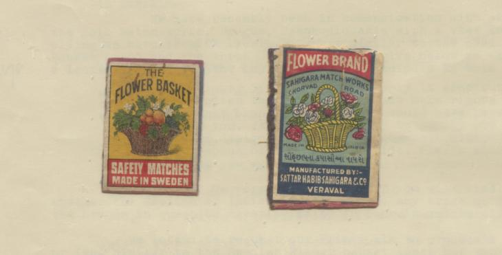 Detail of Swedish 'Flower Basket' matchbox label and Indian imitation. IOR/R/15/2/1351, f. 16