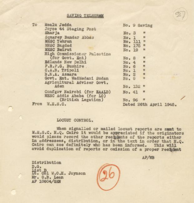Telegram from the Middle East Supply Centre concerning locust control, 26 April 1945. IOR/R/15/2/1741, f. 27