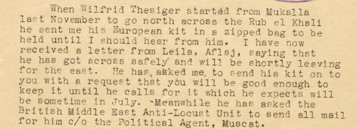 Letter from the British Minister in Cairo, Edwin Chapman-Andrews, to the British Political Agent in Bahrain, Cornelius James Pelly, 8 April 1948. IOR/R/15/2/1741 f. 220r