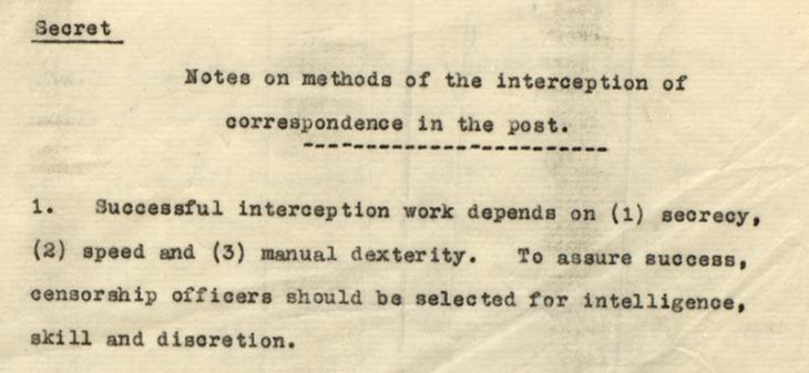 'Notes on methods of the interception of correspondence in the post'. IOR/R/15/2/191, f. 2