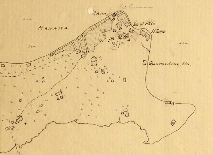 خريطة مرسومة للمنامة والمنطقة المحيطة استخدمت في تحديد الموقع المحتمل لمحطة التلغراف اللاسلكي، حوالي ١٩١٢. IOR/R/15/2/20،  ص.١٦و