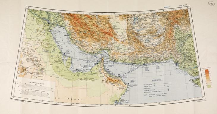 خريطة للخليج توضح المرافق الجوية على السواحل العربية والفارسية، حوالي ١٩٣٤. IOR/R/15/2/263، ص. ١٩٤