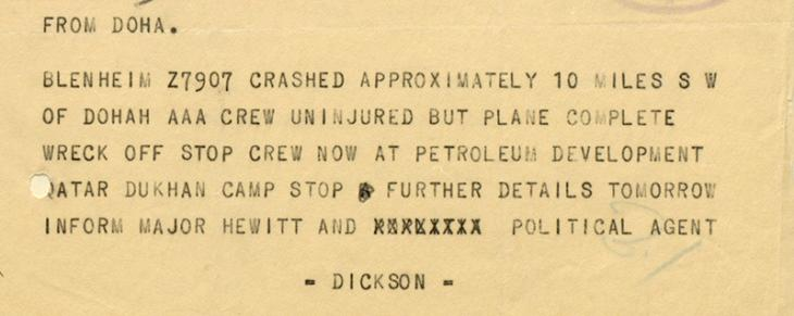 Telegram from Doha to the Political Agent in Bahrain, dated 17 December 1941, reporting on the crash of a Blenheim outside Doha. IOR/R/15/2/275, f. 7