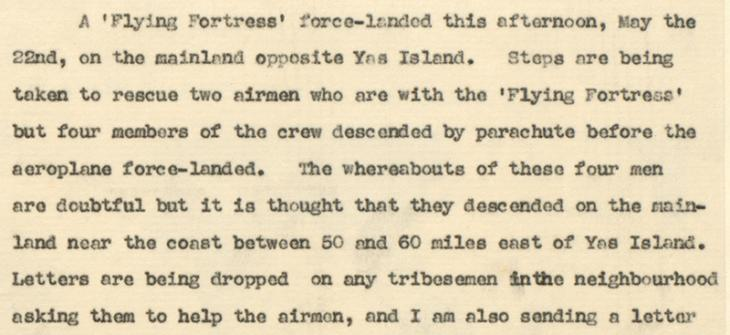 Extract of a letter from the Political Agent in Bahrain to the Residency Agent at Sharjah, dated 22 May 1944, on the forced landing of an American Boeing B-17 Flying Fortress. IOR/R/15/2/276, f. 17