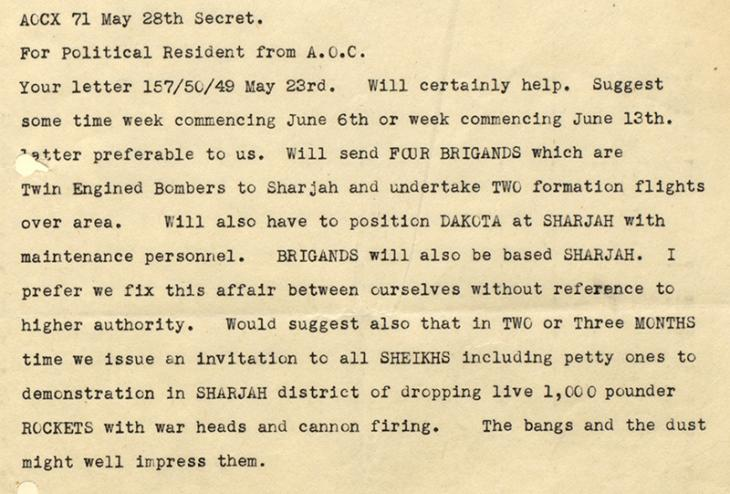 Extract from a secret message from Air Headquarters Iraq, to the Political Resident, dated 28 May 1949. IOR/R/15/2/293, f. 2