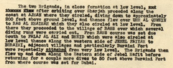 Extract from a report on Demonstration Flights by 84 Squadron over Trucial Shaikhdoms, June 1949, written by G. E. Lewis, Air Staff Liaison Officer. IOR/R/15/2/293, ff. 13–4