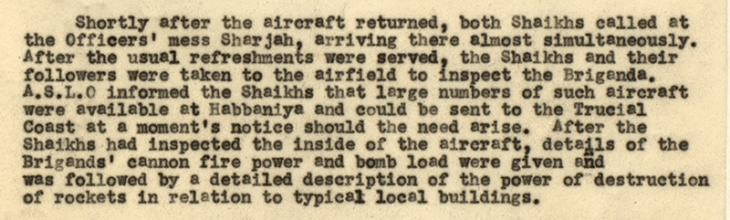 Further extract from a report on Demonstration Flights by 84 Squadron over Trucial Shaikhdoms, June 1949, written by G. E. Lewis, Air Staff Liaison Officer. IOR/R/15/2/293, ff. 13–4