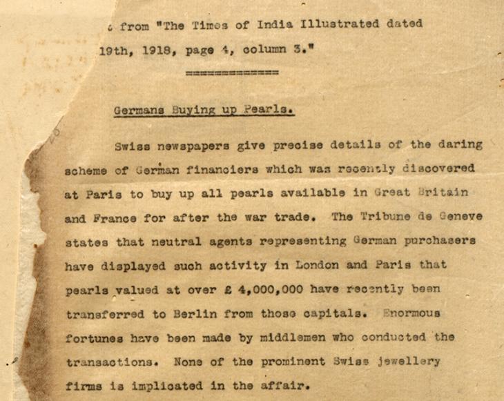 نسخة طبق الأصل عن أحد التقارير الصادرة في التايمز الهندية بتاريخ غير معلوم في ١٩١٨. IOR/R/15/2/3، ص. ٣٠