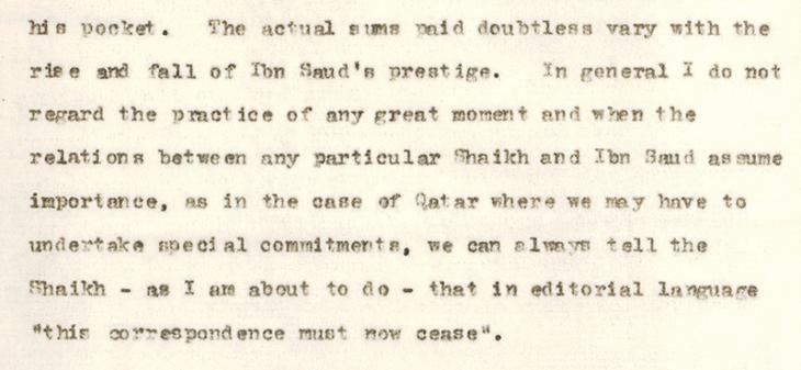 Letter from J. G. Laithwaite at the India Office in London to the Political Resident about the borders of Qatar and the payments made by 'Abdullāh bin Jāsim bin Muḥammad Āl Thānī, Shaikh of Qatar, to Ibn Sa'ud, King of Saudi Arabia. IOR/15/2/413, f. 36