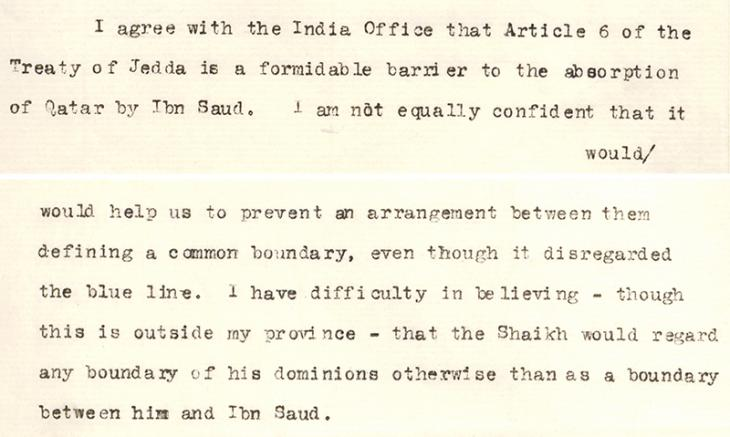 Letter from the Foreign Office regarding the borders of Qatar, 27 February 1934. IOR/15/2/413, ff. 40–43