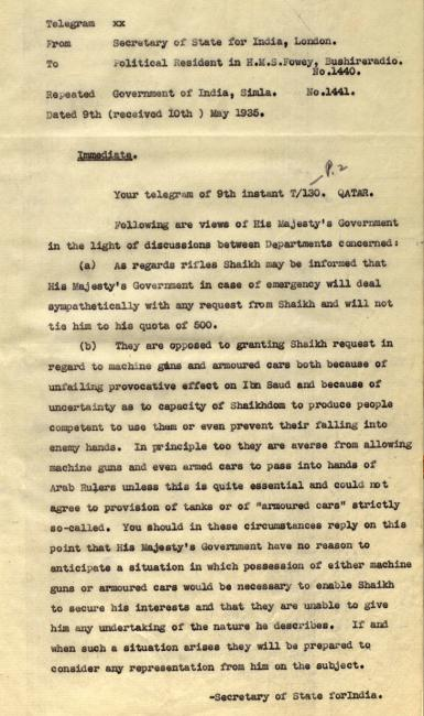 Telegram from the Secretary of State for India in London to the Political Resident in the Persian Gulf, 9 May 1935. IOR/R/15/2/417, f. 7