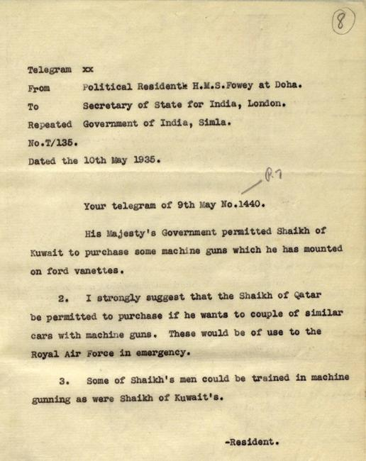Telegram from the Political Resident in the Persian Gulf, to the Secretary of State for India in London, 10 May 1935. IOR/R/15/2/417, f. 8