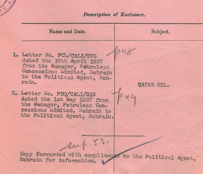 Detail from letter transmitting enclosure from the Secretary of State for India, 6 May 1937. IOR/R/15/2/418, f. 70