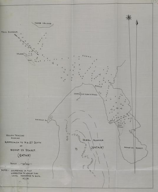 Rough tracing showing approach to the jetty at Dohat ez Zekrit, 1938. IOR/R/15/2/418, f. 129r
