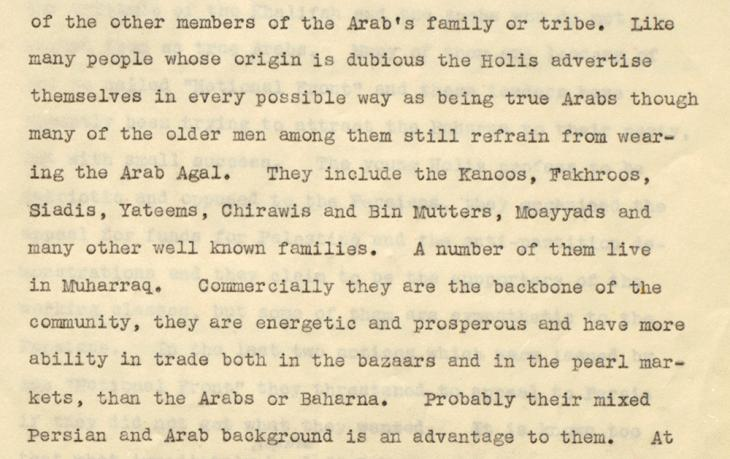 Extract of a letter from the Adviser to the Government of Bahrain, Charles Dalrymple Belgrave, to the Political Agent at Bahrain, Cornelius James Pelly, dated 17 February 1948. IOR/R/15/2/485, f. 7
