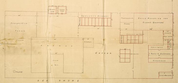 خطط معمارية لمبنى الوكالة، حوالي ١٩٠٥.  IOR/R/15/2/52، ص.٩٦
