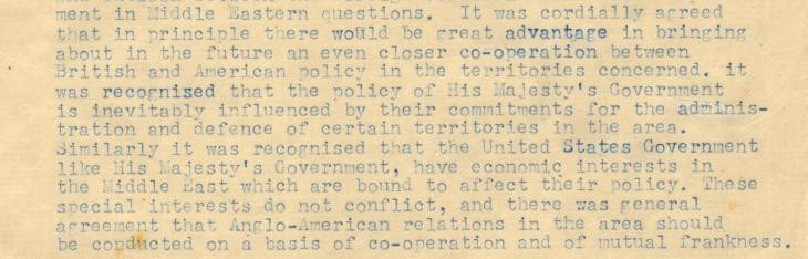 Extract of a Foreign Office memorandum detailing Anglo-American relations in the Middle East, dated 29 April 1944. IOR/R/15/2/743, ff. 9-12