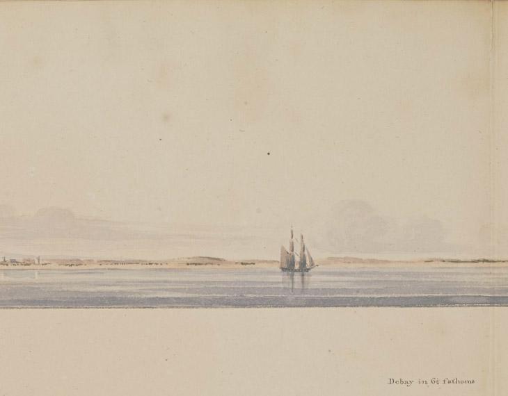 """رسم أولي للملازم الأول مايكل هاوتون بألوان مائية يُظهر مشهد """"دبي بمقياس ٦ ونصف قامة"""". IOR/X/10310/14، ص. ١٥و"""