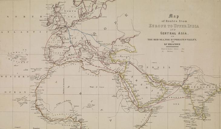 خريطة للطرق المقترحة من لندن إلى الهند في حوالي ١٨٥٠، تسلط الضوء على أهمية استمرار الهدنة البجرية في منطقة الخليج، ١٨٥٦. IOR/X/2963، ص. ١و