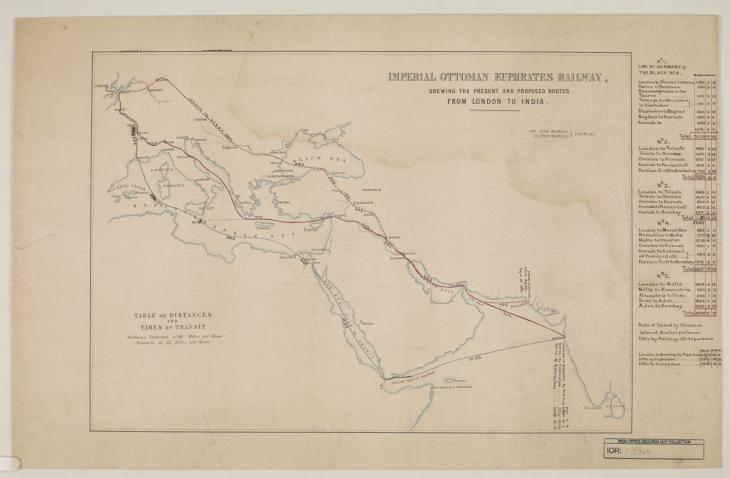 سكة حديد الفرات العثمانية الملكية، توضح المسارات الحالية والمقترحة من لندن إلى الهند، وضعها السير جون ماكنيل وتيلفورد ماكنيل، مهندسين. IOR/X/2964