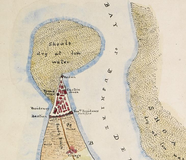 تفصيلة من خريطة لبوشهر، أنشئت حوالي ١٨٠٠، يظهر فيها مبنى المقيمية البريطانية. IOR/X/3111، ص. ١و